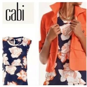 CABI Blossom Floral Top in Navy and Orange